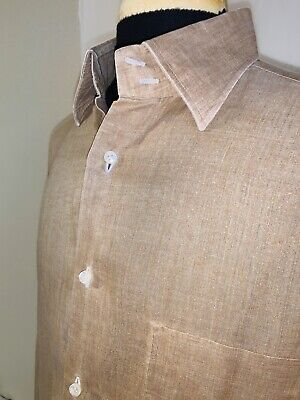 Summer Ready Gianluca Isaia Napoli Linen Button Down Shirt Sz 15.5 M Italy
