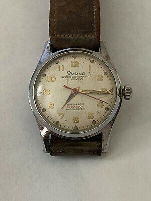 Vintage STARINA Super Automatic F690  BIDYNATOR Incabloc Military Style Watch