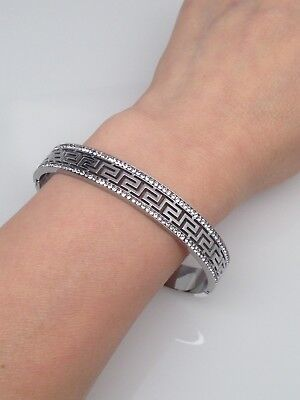 Stainless Steel Greek Key Cz Bangle Bracelet Mens Womens 7""