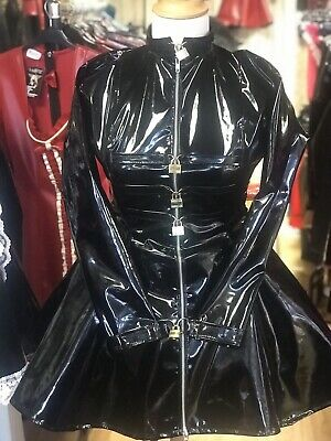 Misfitz black gloss Pvc padlock lockable cuffs skater dress size 20 Goth TV CD