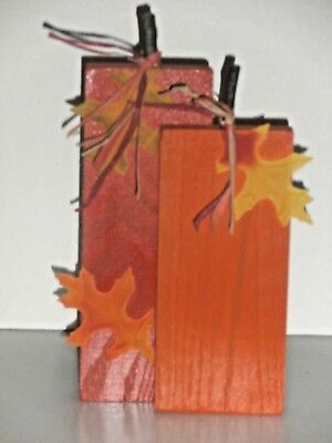 Pumpkin Duo Wood Crafted Fall Standing Decoration with leaves 10 inch  - Pumpkin With Leaves