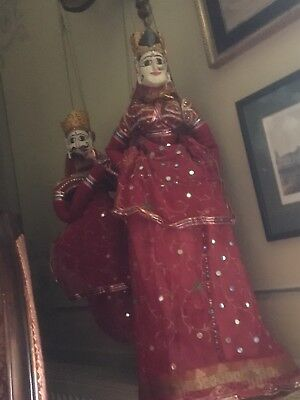 A Pair of Rajasthan Puppets In Vibrant Costumes, Indian
