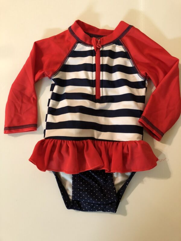 Cat & Jack  3-6 Month Girls Red White & Blue Long Sleeve One Piece