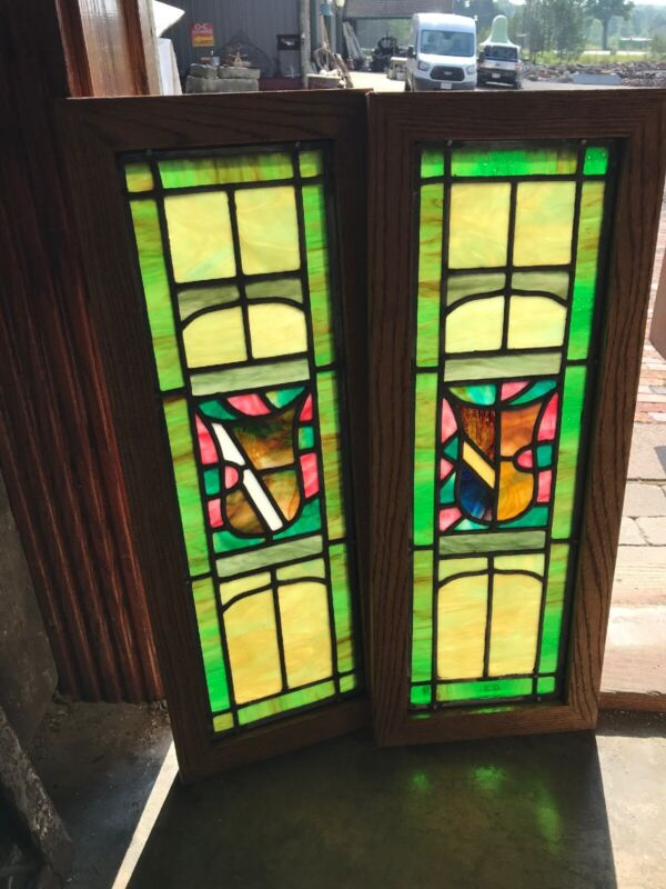 "Sg 2985 Pair Antique restored stained glass windows 10"" x 26.25"