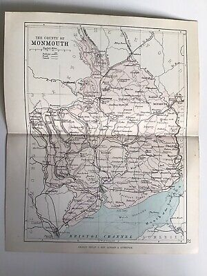County Of MONMOUTH, Wales, 1884 Original Antique Map, George Philip, Atlas