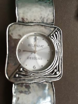 Retired Silpada Sterling Silver Square Link Hammered Watch 7
