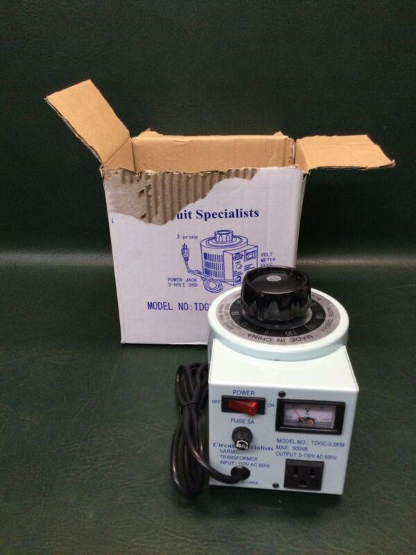 Circuit Specialists Variable Voltage Transformer Variac TDGC-0.5KM 0-130VAC