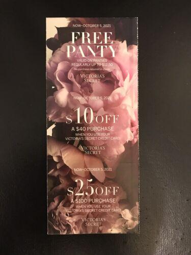 3 Victoria s Secret Coupons Panty, 10 Off 40, 25 Off 100 Exp 10/5/21 - $8.75