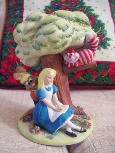 Walt Disney Alice In Wonderland Figurine Under Tree with Rabbit and Cheshire Cat