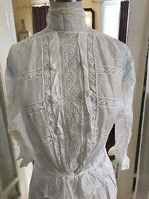 Antique Gibson Gil 1900's 2 Piece Garden/walking Outfit Shirt Top Ornate Lace