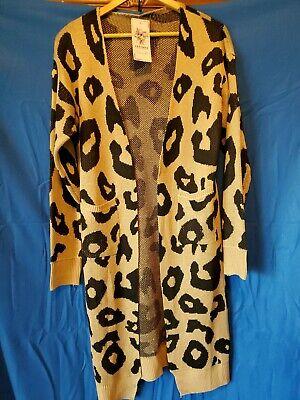 Women's Long Cardigan Ladies Leopard Sweater Long Sleeve Open Basic Knit Coat