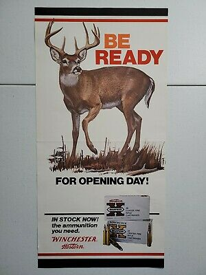 Vintage Winchester Western Rifle Hunting Gun Store Display Advertising Poster