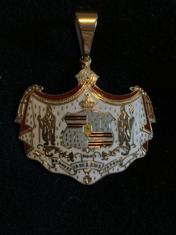 14K Gold Hawaii Coat Of Arms Crest Enamel Pendant RARE KALAKAUA Centennial 1986