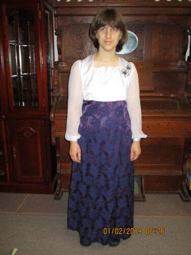 Regengy Gown Regency Costume Vtg empire waist Dess Austen Dickens Small Petite