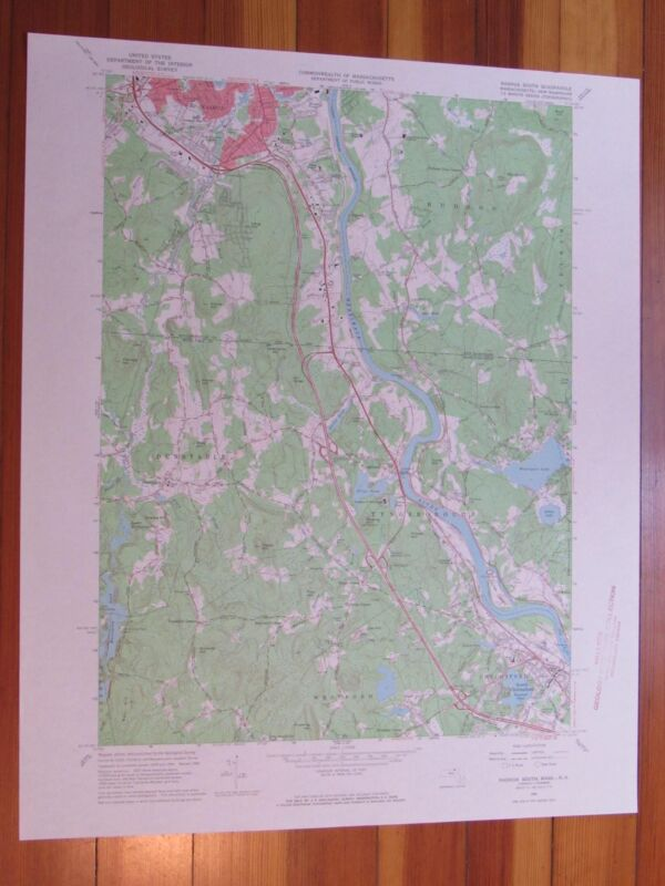 Nashua South Massachusetts 1968 Original Vintage USGS Topo Map