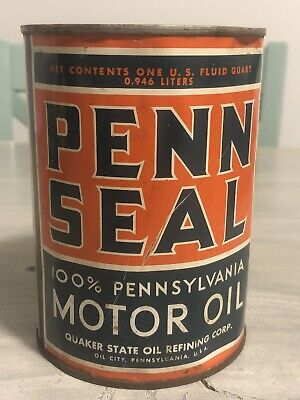 1 QUART OIL CAN TIN PENN SEAL 100% PENNSYLVANIA MOTOR OIL Can FULL gas Oil