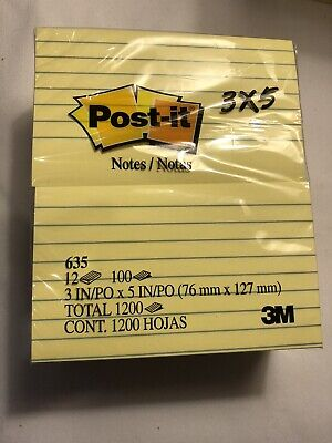 Post It Original Pads Canary Yellow 3 X 5 Lined 100-sheet 12 Pack 635yw Post-it