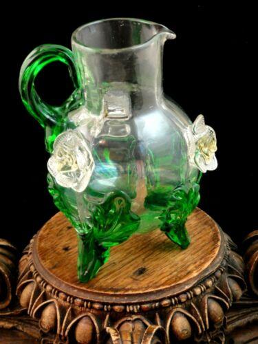 Antique Bohemian Applied Green Acanthus & Flower Art Glass Jug Harrach / Loetz