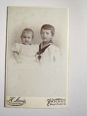 Zwickau i. S. - 2 Kinder - Junge ini Matrosen-Outfit und Baby - Portrait / CDV ()