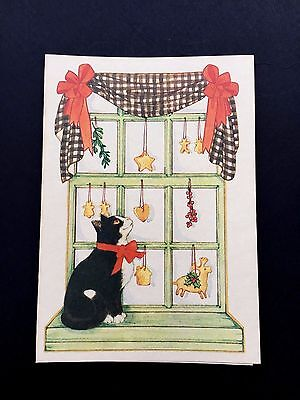 Vintage Unused Xmas Greeting Card Adorable Kitten by an Old Fashioned Window