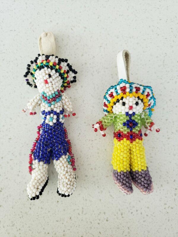 Native American Zuni Beaded Chief Doll Pendants with Leather Loops