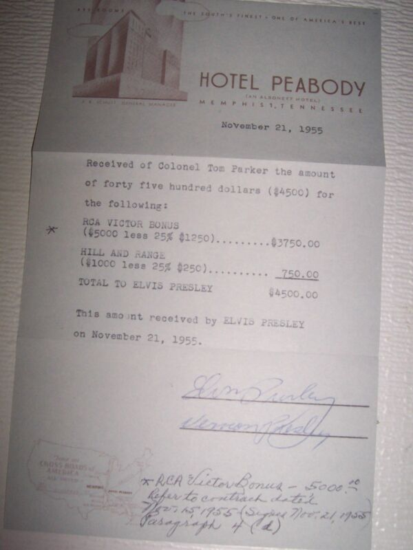 ELVIS PRESLEY $4,500.00 RECEIPT TO  ELVIS SIGNED BY ELVIS & VERNON NOV. 21 1955