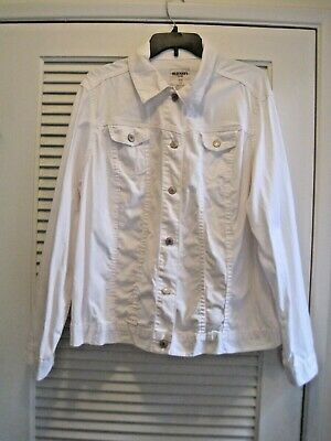 Old Navy WHITE STRETCH  Denim Jean Jacket Outerwear 1X 2X 18 20 XXL 2X worn once
