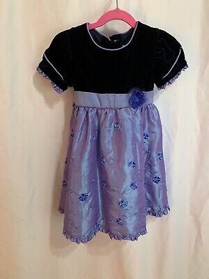 Jona Michelle Girls 3T Fancy Special Occasion Purple Velvet- Satin Floral Dress