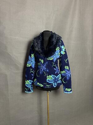 MINT! Kenzo Vintage Fur Collar Women's Blue Floral Jacket Size L
