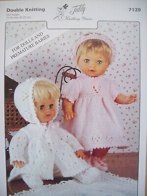 Baby Dolls Clothes DRESS COAT BONNET BOOTIES KNITTING PATTERN DK 12 - 22 inch