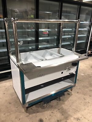 48 4ft Steam Table Natural Gas 3 Full Size Pans W Sneeze Guard - Nsf Approved