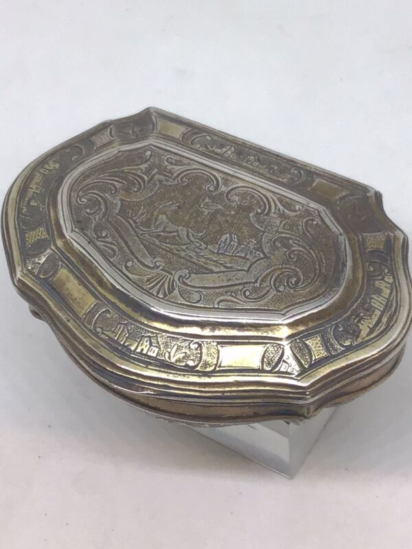 c1760 Stunning Georgian Silver Gilt Castle Engraved European Snuff Box