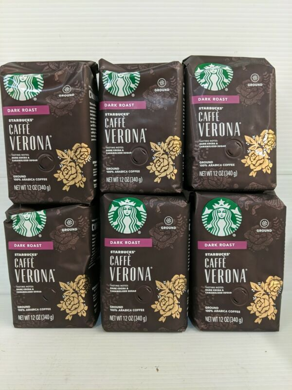 6 Bags Starbucks Caffe Verona Dark Roast Ground Coffee 12 Oz Each. BB 1/6/21