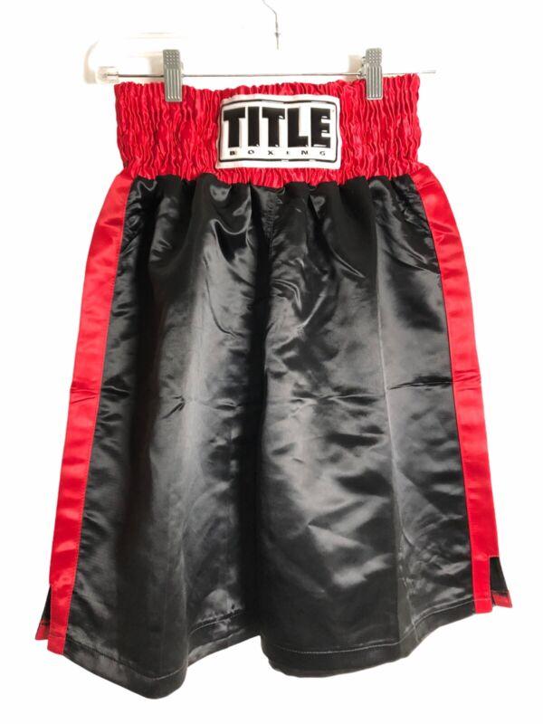 TITLE Black Boxing Trunks Shorts Classic Edge Satin Performance Boxing L