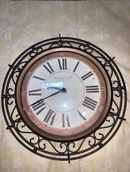 """Sterling and Noble Wall Clock Copper And Bronze Color Metal 12"""" Diameter"""