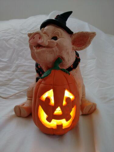 "Halloween Enesco Pig Witch Jack O Lantern Lighted Ceramic Kathy Wise 7.5"" T 1995"