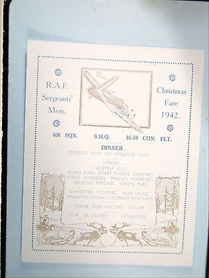 35mm Photo Slide WW2 408 Goose Squadron Sergeant's Mess Menu 1942 Christmas ()