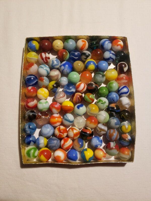 Antique Vintage Marbles Lot Including Akro, Peltier,Vitro & More/87/ Brick