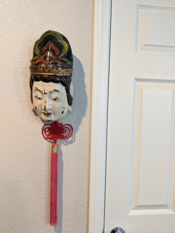 Japanese Hand Carved Hand Painted Wood Mask Wall Hanging