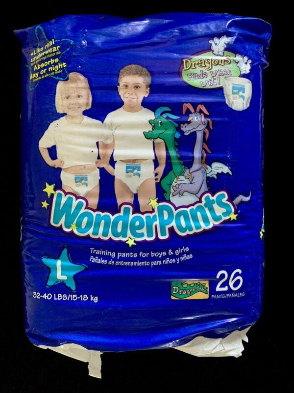 RARE SEALED Vintage 2005 WonderPants Training Diaper DRAGON TALES Size L - 26 CT