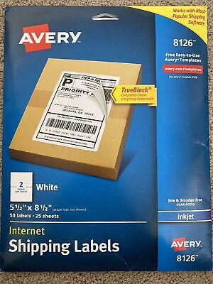 Avery 8126 Shipping Address Labels Inkjet Printer 50 Pcs Adhesive 1 Pack White