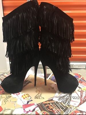 100% Authentic Christian Louboutin Black Peep Toe Boots Size 10 ( Feets 8.5-9)