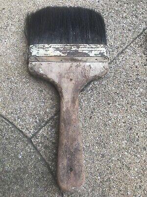 Vintage Paint Brush British Made Old Decorators Tools Pure Bristle Copper Band - Vintage Paint Brush