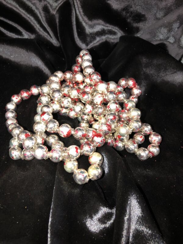 """Antique Mercury Glass Christmas Garland Feather Chippy Red Silve 1/2"""" Beads 66"""""""