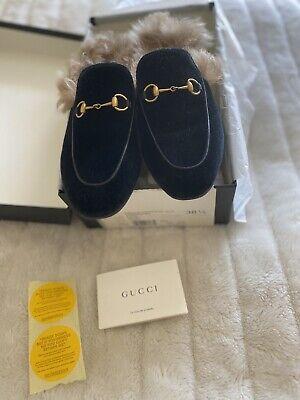 Gucci Velvet Fur Lined Black Princetown Slipper Shoe Uk 5.5 EU 38.5
