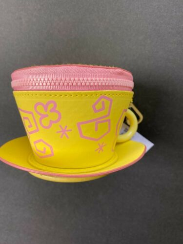 NWT  Disney Parks Zippered Tea Cup Coin Purse Keychain - Alice in wonderland