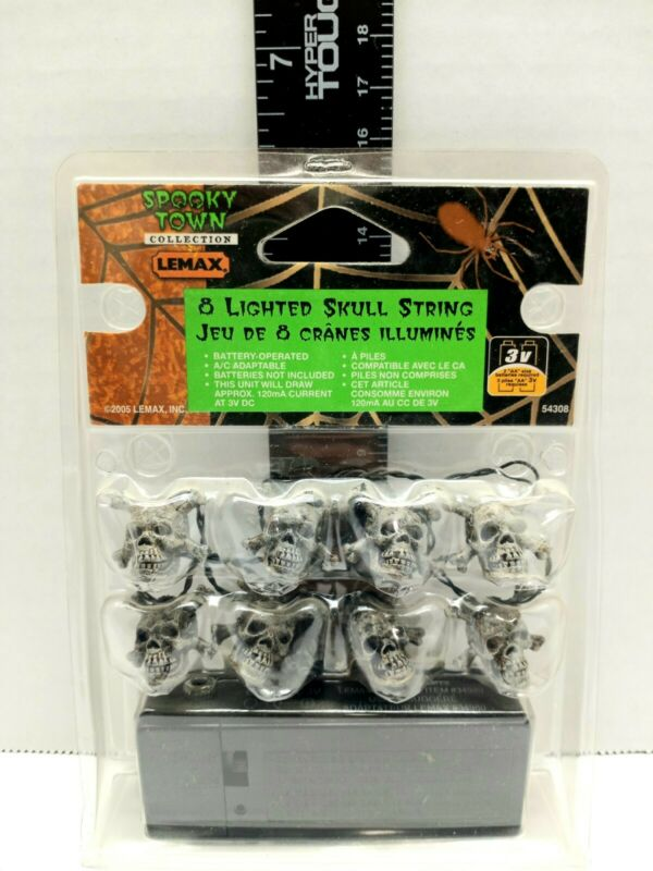 Lemax Spooky Town Halloween Lights 8 Lighted Skull String 34905 New