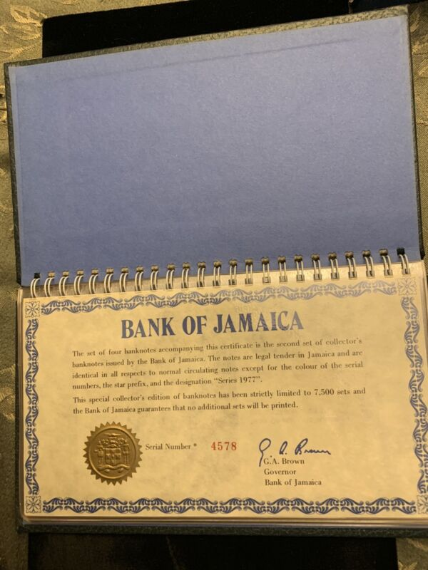 8 SETS! 1977/76 -Bank Of Jamaica Complete Note Set With Original Case And Sleeve