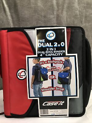 Case It The Dual 2.0 2 In 1 Dual Ring Binder 4 Capacity In Red