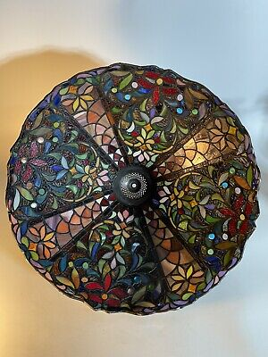 """Striking Vintage Tiffany Style Large glass Table  lampshade 20"""" Diameter (#2)"""